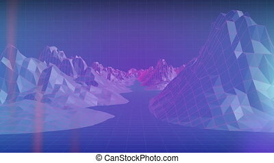 Animation of mountain of rocks in blue background - ...