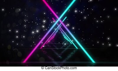 Animation of moving colorful geometrical shapes over the waterline and stars in night sky. color, movement and energy background concept, digitally generated video.