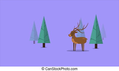 Animation of moving deer in the hill. Chirstmas collection