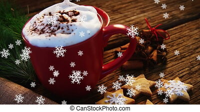 Animation of mug of hot chocolate with snowflakes