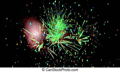 Animation of multi coloured confetti falling over black background. new year's eve party celebration festivity concept digitally generated image.