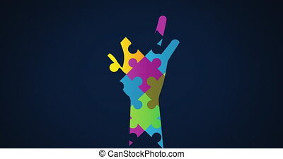 Animation of multi coloured puzzle elements forming hand, symbol of Autism Awareness Month symbol