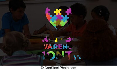 Animation of multi coloured puzzle elements forming heart ...
