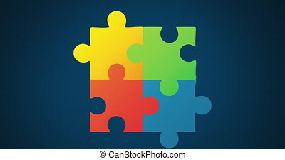 Animation of multi coloured puzzle elements forming symbol ...