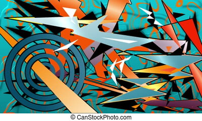 Animation of multiple, colourful cartoon shapes appearing over blue and orange liquid background