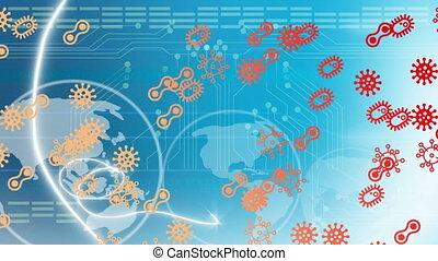 Animation of multiple coronavirus cells flying over globe spinning