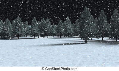 Animation of multiple fir trees with snow falling on black background