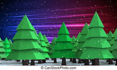 Animation of multiple fir trees with snow falling on gradient purple to pink background
