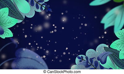 Animation of multiple green leaves with flickering particles on night blue sky in the background
