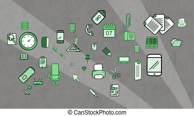 Animation of multiple green school icons moving on grey ...