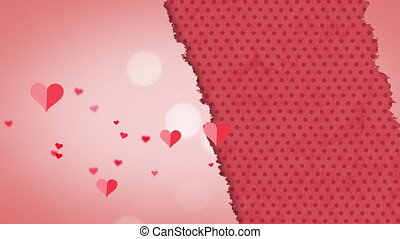 Animation of multiple red and pink hearts floating on torn ...