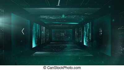 Animation of multiple screens with scientific data processing. global technology digital interface connection communication concept digitally generated image.