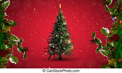 Animation of multiple snowflakes falling and christmas tree with holly branches on red background