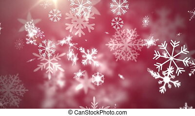 Animation of multiple snowflakes falling on red background