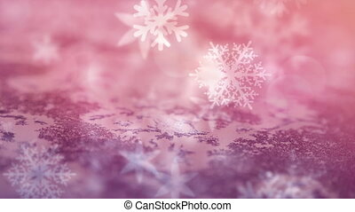 Animation of multiple snowflakes falling over pink surface. christmas seasons festivity celebration concept digitally generated image.