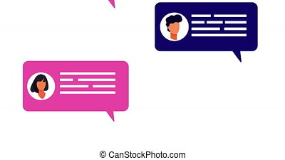 Animation of multiple social networking chat speech bubbles. connection communication social networking concept digitally generated image.