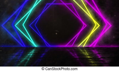 Animation of neon glowing geometric diamond moving on black background.
