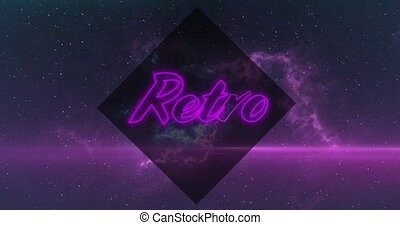 Animation of neon Retro text in purple with purple clouds of smoke on night sky