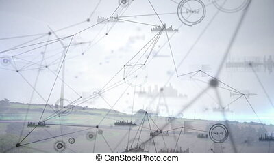 Animation of network connection and graphs on white ...