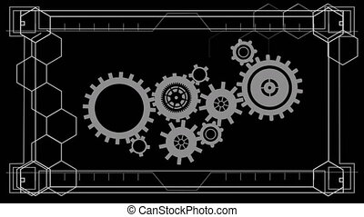 Animation of network of cogs spinning and data processing on...