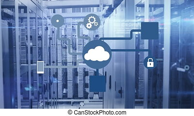 Animation of network of connections cloud computing with ...