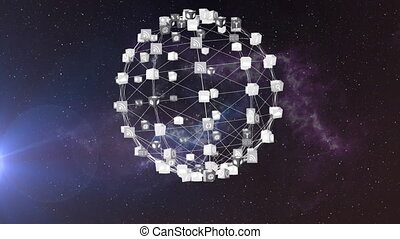 Animation of network of connections forming spinning globe ...