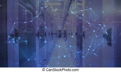 Animation of network of connections in a server room