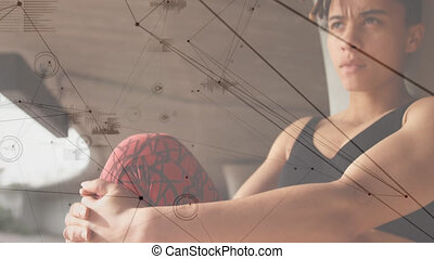 Animation of network of connections over fit woman exercising