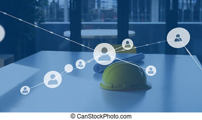 Animation of network of connections over hard hat and architects plans. global interior design, architecture, connections, digital interface and networking concept digitally generated video.