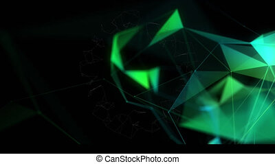 Animation of network of connections spinning on black background
