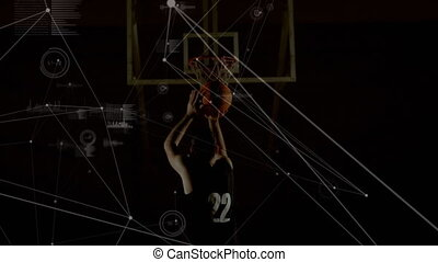 Animation of network of connections with basketball player dunking