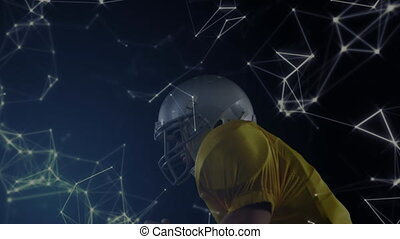 Animation of network of connections with football player catching a ball