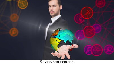 Animation of network of connections with icons over businessman holding globe