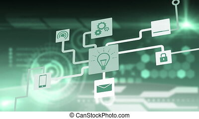 Animation of network of connections cloud computing with lightbulb, on line security, message, wifi icons on glowing green background. Global network of connections and communication cloud computing concept digitally generated image.