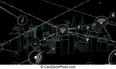Animation of network of connections with wifi reception and ...