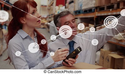 Animation of network of connections with wifi reception ...