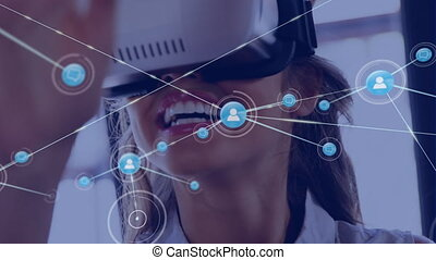 Animation of network of connections with woman in background