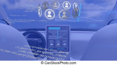 Animation of network with icons and data processing with car cockpit on blue background. global digital interface communication technology concept digitally generated image.