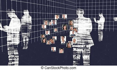 Animation of networks of connections of multiple photos forming a globe