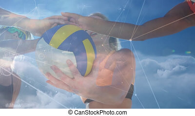 Animation of networks of connections over people playing volleyball