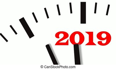 Animation of New Year count down clock. 60 FPS, 4K