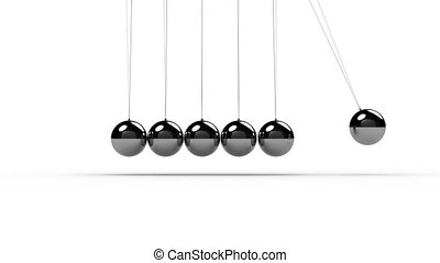 Animation of Newtons Cradle over white background. Seamless loop with realistic movement of all spheres.
