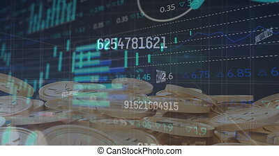 Animation of numbers changing and data processing over gold yen coins. global business and finance concept digitally generated video.