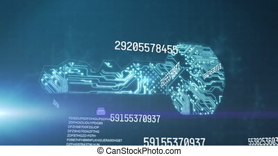 Animation of numbers processing over glowing computer circuit board on blue background