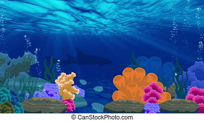 Animation of ocean underwater beauty landscape video background