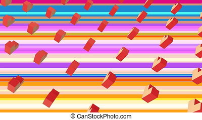 Animation of orange shapes in colored background