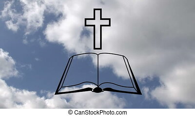 Animation of outline of Christian cross and open holy Bible book over blue clouds