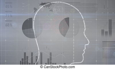Animation of outline of human over stock market display in ...