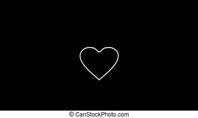 Animation of outline white heart jumping on black background, Design elements for Valentine's day.