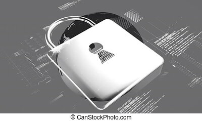 Animation of padlock and a globe spinning with data processing on grey background